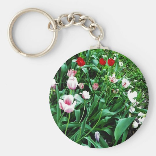 Red & Pink Tulips Pictures Keychain