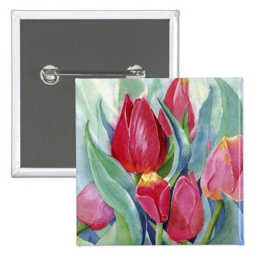 Red & Pink Tulips Pinback Button