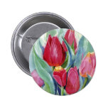 Red & Pink Tulips Pinback Buttons