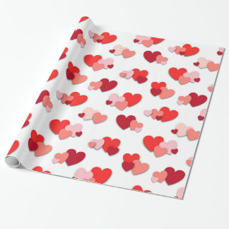 Red & Pink Valentine Hearts Wrapping Paper
