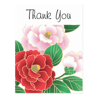Red Pink Vintage Floral Vector Pattern Postcard