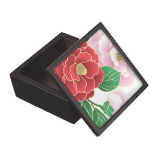 Red Pink Vintage Floral Vector Pattern Premium Jewelry Box