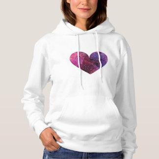 Red Pink Violet Polygonal Heart Hoodie