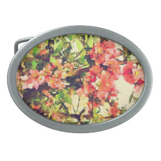 Red Pink Watercolor Floral Pattern 1 Oval Belt Buckle