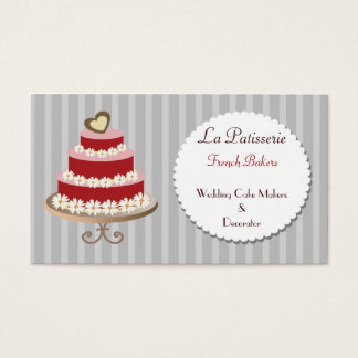 red pink Wedding Cake makers business Cards