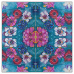 RED PINK WHITE COLORFUL FLOWERS IN BLUE FABRIC