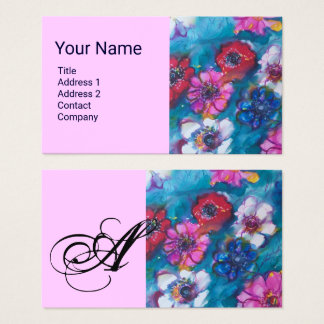 RED PINK WHITE COLORFUL FLOWERS IN BLUE MONOGRAM BUSINESS CARD