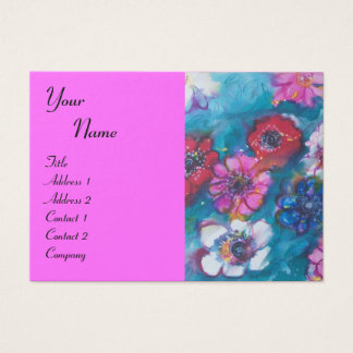 RED PINK WHITE FLOWERS IN BLUE MONOGRAM Fuchsia Business Card