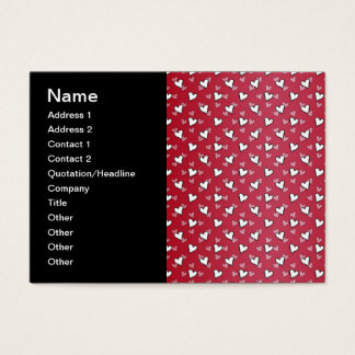 Red Pink White Heart Pattern Business Card
