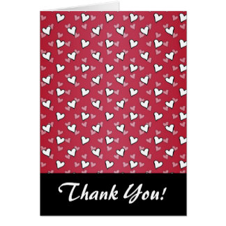 Red Pink White Heart Pattern Card