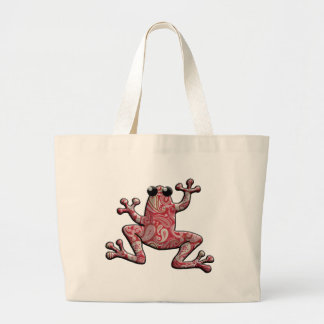 Red Pink White Paisley Frog Bags