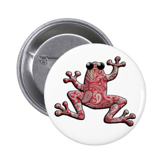 Red Pink White Paisley Frog 2 Inch Round Button