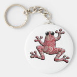 Red Pink White Paisley Frog Basic Round Button Keychain