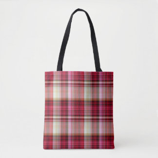 Red Pink Yellow Black Madras Tartan Plaid Tote Bag