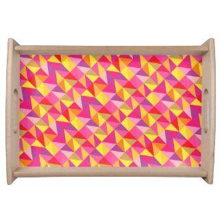 Red Pink Yellow Geometric Pattern Serving Tray