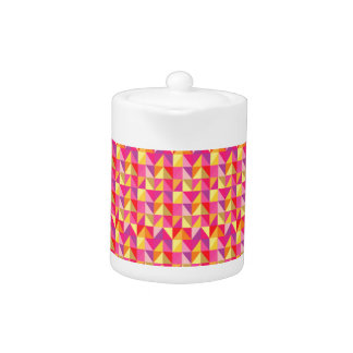 Red Pink Yellow Monogramed Geometric Pattern Teapot