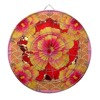 RED-Pink-Yellow Tropical Hibiscus Flowers Dartboard With Darts
