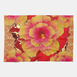 RED-Pink-Yellow Tropical Hibiscus Flowers Towel