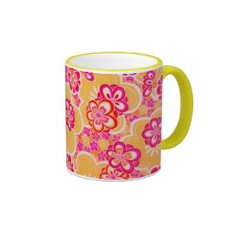 Red, Pink, Yellow & White Tropical Flowers Coffee Mugs