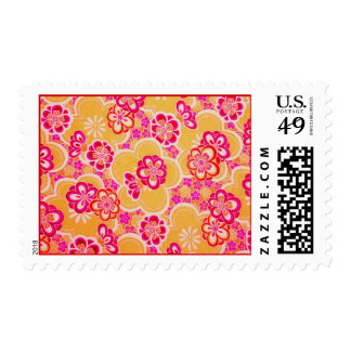 Red, Pink, Yellow & White Tropical Flowers Postage Stamps