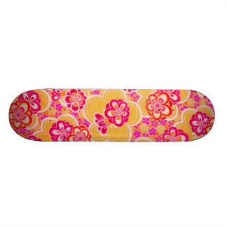 Red, Pink, Yellow & White Tropical Flowers Skateboard Deck
