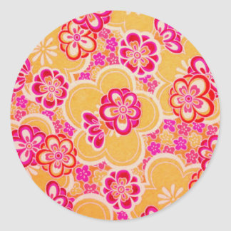 Red, Pink, Yellow & White Tropical Flowers Classic Round Sticker