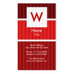 Red Pinstripe - Modern Monogram Business Card