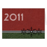 Red Pinstripe New Year's Snowflake Card