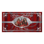 Red Pinstripe Silver Faux Jewel Photo Cards