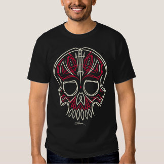 red pinstripe skull - front only t-shirt