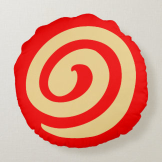 Red Pinwheel Cookie Round Pillow