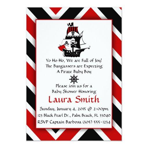 Red Pirate Baby Shower Invitation