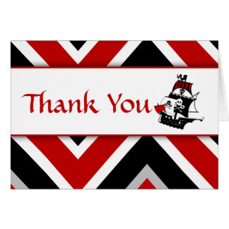 Red Pirate Baby Thank You Note Card