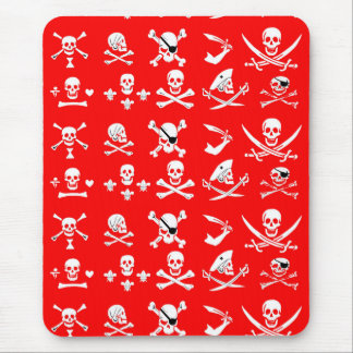 RED PIRATE BANNERS SKULL,CROSSED BONES,SWORDS MOUSE PAD