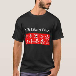 RED PIRATE BANNERS SKULL,CROSSED BONES,SWORDS T-Shirt
