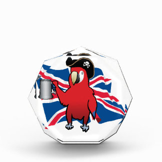 Red Pirate Parrot and a Union Jack Acrylic Award