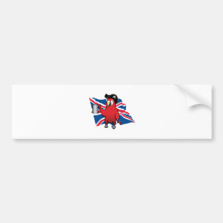 Red Pirate Parrot and a Union Jack Bumper Sticker