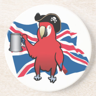 Red Pirate Parrot and a Union Jack Coasters