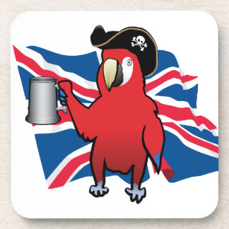 Red Pirate Parrot and a Union Jack Beverage Coasters
