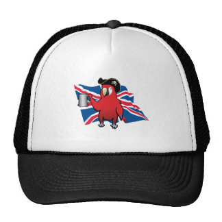 Red Pirate Parrot and a Union Jack Mesh Hat