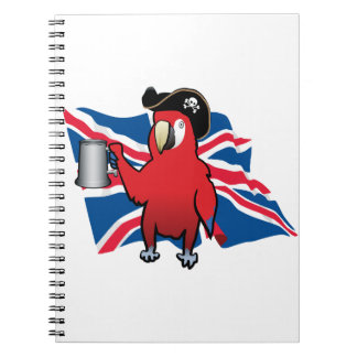 Red Pirate Parrot and a Union Jack Spiral Notebook