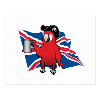 Red Pirate Parrot and a Union Jack Postcard