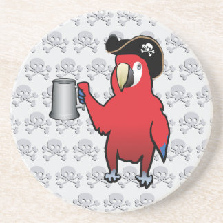 Red Pirate Parrot with a tankard Beverage Coaster