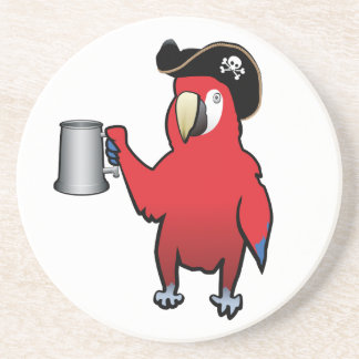 Red Pirate Parrot with a tankard Beverage Coasters
