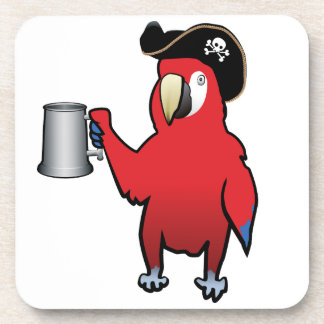Red Pirate Parrot with a tankard Coaster