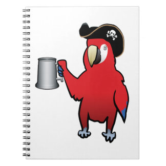Red Pirate Parrot with a tankard Spiral Notebook