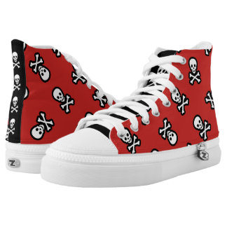 Red Pirate Rockabilly Psychobilly Jolly Roger High-Top Sneakers