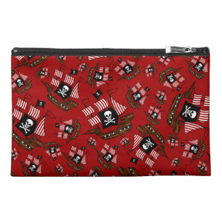 Red pirate ship pattern travel accessories bags