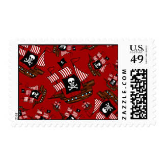 Red pirate ship pattern postage stamp