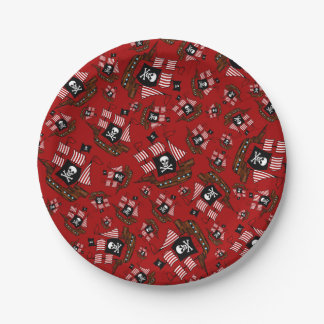 Red pirate ship pattern 7 inch paper plate